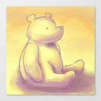 pooh Canvas Prints featuring Pooh Bear by Jennifer Kathryn Lee