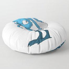 Light Blue/Color-Or-Paint-Your-Own Reptilian Bird w/ Dark Blue Beak/Legs/Hands #ArtofGaneneK #Animal Floor Pillow