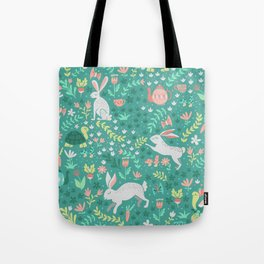 Spring Pattern of Bunnies with Turtles Tote Bag