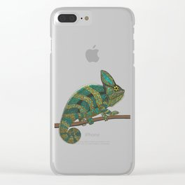 veiled chameleon stone Clear iPhone Case
