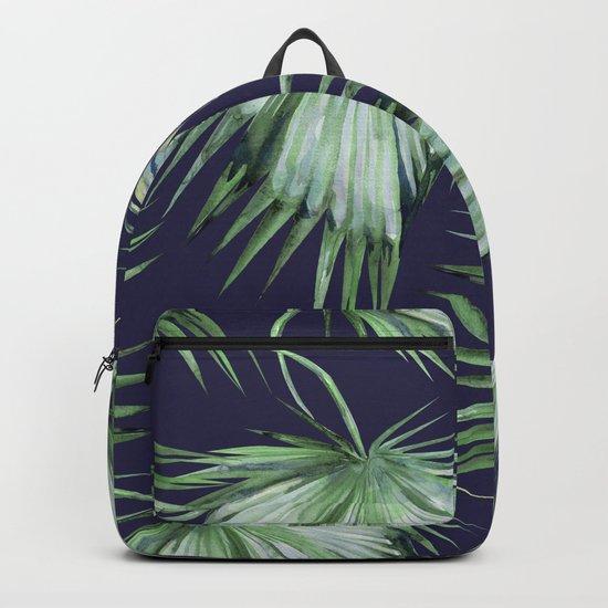 Floating Palm Leaves Blue Backpack