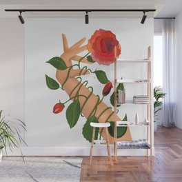Flamenco hand with rose in blue Wall Mural