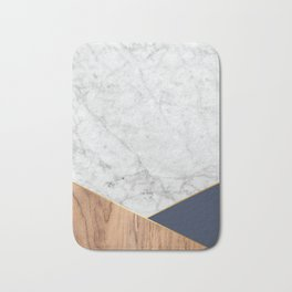 Geometric White Marble - Wood & Navy #599 Bath Mat