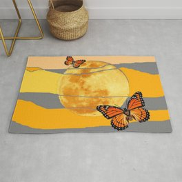 MOON & MONARCH BUTTERFLIES DESERT SKY ABSTRACT ART Rug