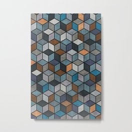 Colorful Hexagon Pattern - Blue, Grey, Brown Metal Print