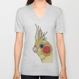 Yellow Ombre Cockatiel Illustration Unisex V-Neck