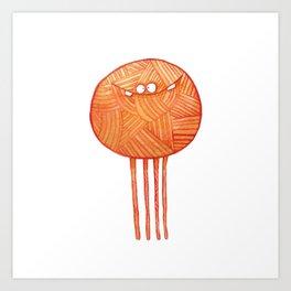 Poofy Orange Yarn Art Print