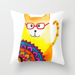 mandala cat Throw Pillow