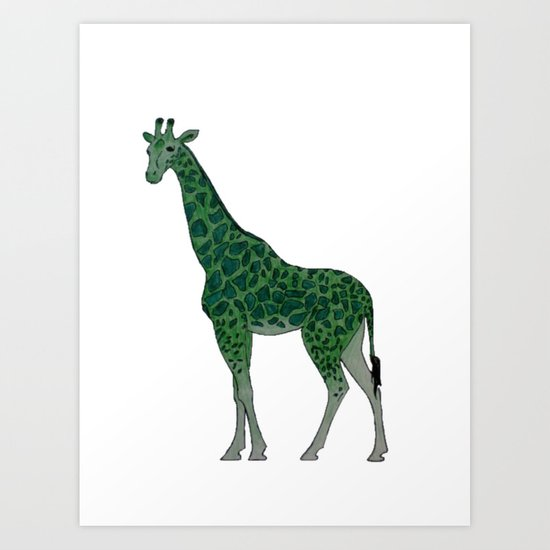 Giraffe is for Green Art Print
