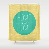 home sweet home Shower Curtains featuring Home sweet home by Allyson Johnson