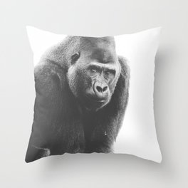 Silverback Gorilla (black + white) Throw Pillow