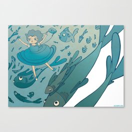The puddle was an ocean full of fishes Canvas Print