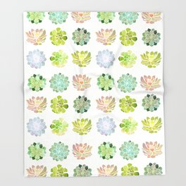 Spring Succulents Throw Blanket