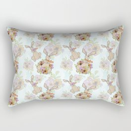 Bunny With Flowers Pattern Rectangular Pillow