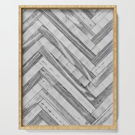 Vintage Diagonal Design //Black and White Wood Accent Decoration Hand Scraped Design Serving Tray