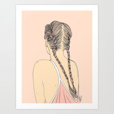 Pretty In Pink Pigtails Art Print