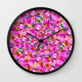 Abstract sewn pink flowers Wall Clock
