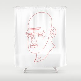 red line face Shower Curtain
