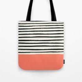 Coral x Stripes Tote Bag