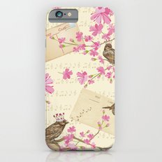 Love Letters - Cute Sparrows And Cherry Blossoms Illustration iPhone 6s Slim Case