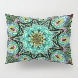 Colorful Peacock Feather Kaleidoscope Pillow Sham