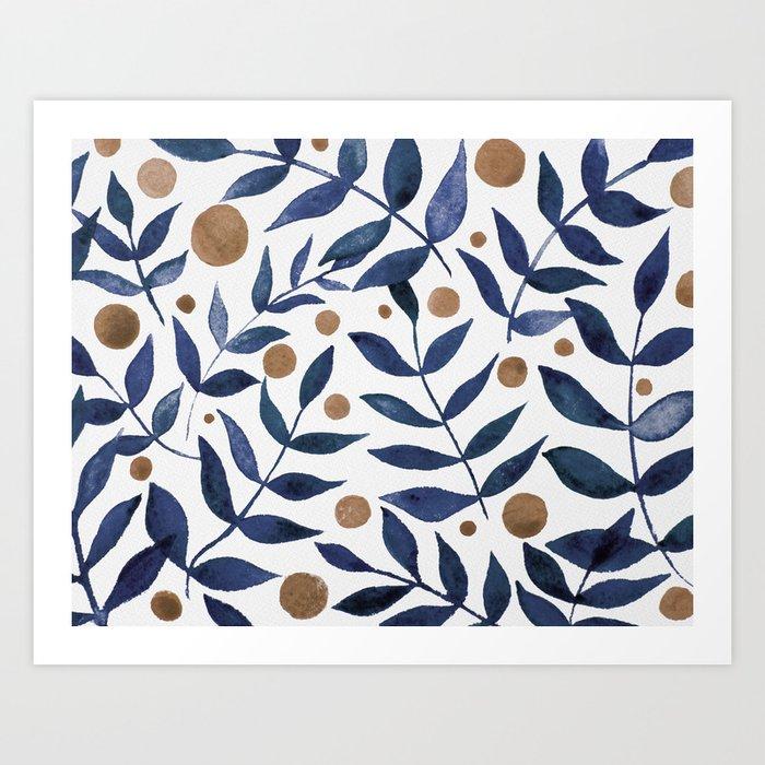 Watercolor berries and branches - indigo and beige Kunstdrucke