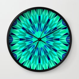 Teal. Blue Mandala Retro Geometry Wall Clock