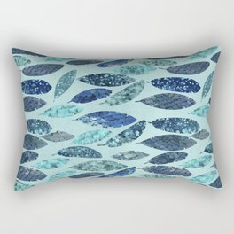 Blue Aqua Glamorous Mermaid Feathers Rectangular Pillow