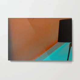Black Lamp Orange and Teal Metal Print