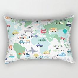 Travel The World Trains Planes Cars Trucks Map Rectangular Pillow
