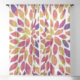 Watercolor brush strokes - multicolor Sheer Curtain