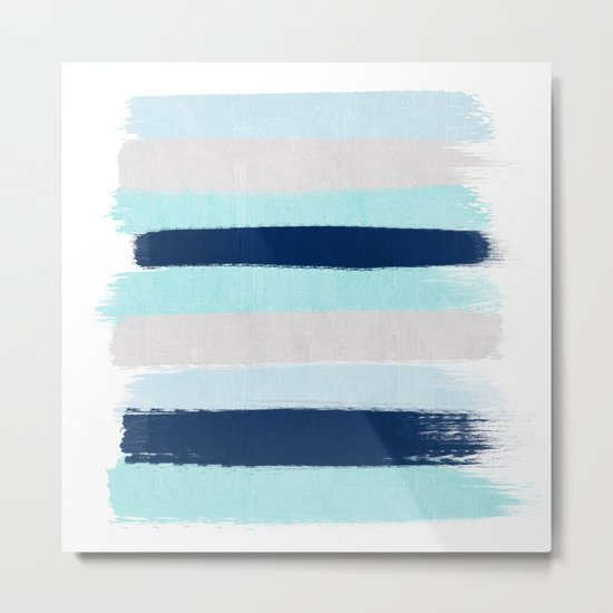 Stripes minimal painted stripe pattern blue indigo grey nautical nursery decor Metal Print