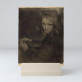 Doris Ulmann  (1882–1934), Close-up of girl in ringlets and dress, looking over shoulder, hands toge Mini Art Print