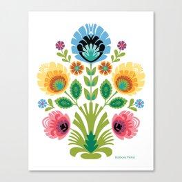 Polish Folk Flowers Pink and Yellow Canvas Print