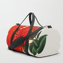 Vintage Scientific Flower Illustration Large Red Flowers Large Orange Petals Duffle Bag