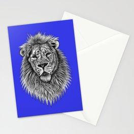 Asiatic lion - big cat - ink illustration - blue Stationery Cards