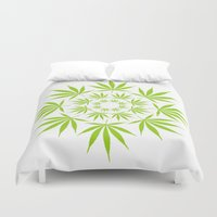 cannabis Duvet Covers featuring Cannabis Leaf Circle (White) by Thisisnotme