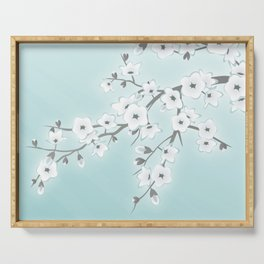 Cherry Blossoms Mint White Serving Tray