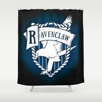 ravenclaw Shower Curtains featuring White Ravenclaw Crest by Sharayah Mitchell