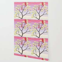 cardinals and dogwood blossoms Wallpaper