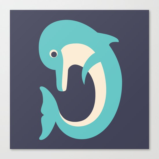 Letter D // Animal Alphabet // Dolphin Monogram Canvas Print