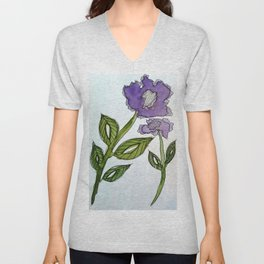 Purple Passion Flower Unisex V-Neck