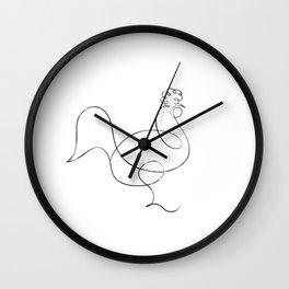 Picasso Line Art - Chicken Wall Clock
