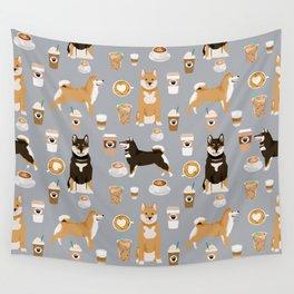 Shiba Inu coffee dog breed pet friendly pet portrait coffees pattern dogs Wall Tapestry