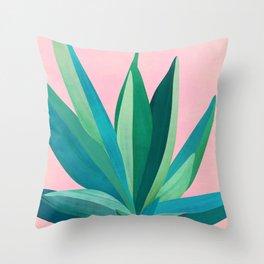 Spring Cactus With Pink Sky / Desert Series Throw Pillow