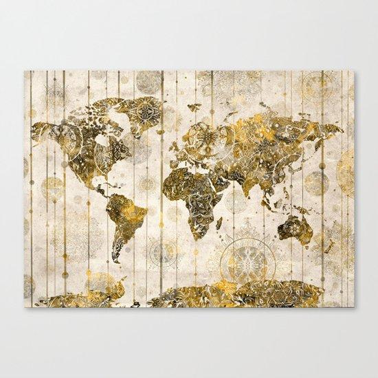 world map mandala sepia 1 Canvas Print