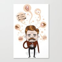 ron swanson Canvas Prints featuring Ron Swanson by Cody Bond