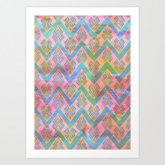 Diamond Chevron - Peach Art Print