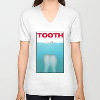 tooth V-neck T-shirts featuring tooth by tama-durden