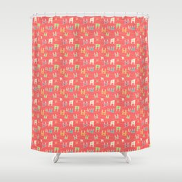 Colorful bunnies on salmon/pink Shower Curtain